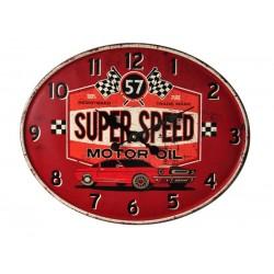 Horloge Murale Mustang Métal Rouge  Ovale 49 X 39 Cm