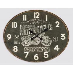 Horloge Murale Motorcyles Métal Noir Ovale 49 X 39 Cm