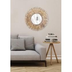 Miroir Soleil Doré Feuilles Diamètre 63 Cm