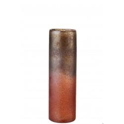 Vase Cylindrique Verre Teinté Bordeaux & Ocre 39 Cm