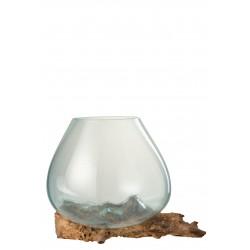 Vase Moulé Sur Pied Bois & Verre Recyclé 33,5 Cm