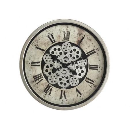 Horloge Murale Ø 46 Cm Mécanisme Apparent Grise