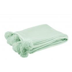 Plaid En Polyester Avec Pompons Vert Clair