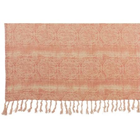 Plaid Oriental En Coton Avec Franges Rose & Ecru