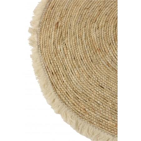 Tapis Avec Franges Ecorce De Mais & Coton Naturel & Beige Diamètre 70 Cm