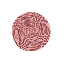 Set De Table Tressé En Polyester Rouge Et Blanc