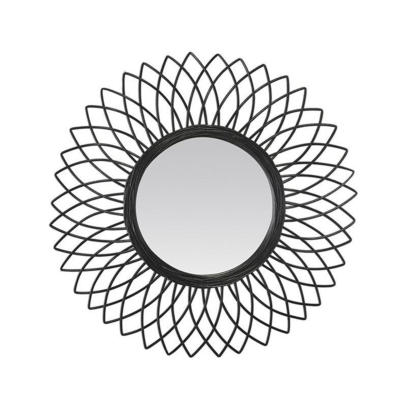 Miroir Luna Rotin Noir Diamètre 61 Cm