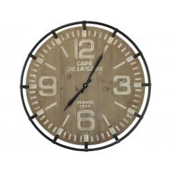 Horloge Murale Bois Et Métal Blanchi Diamètre 65 Cm