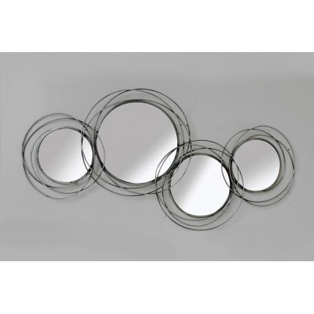 Miroirs Décoratifs Ronds Assembles Métal 100 X 46 Cm