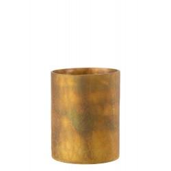 Photophore Cylindrique En Verre Ocre 20 Cm