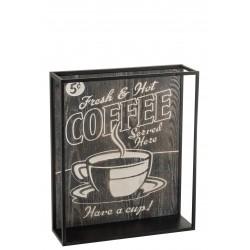 """Déco Murale Support """"Coffee"""" Noir Effet Vieilli 50X42 Cm"""