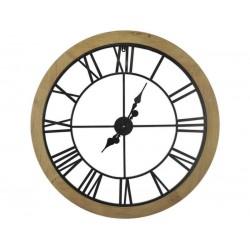 Horloge Murale Bois Et Métal Noir Diamètre 80 Cm