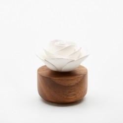 Gardenia Du Laos - Diffuseur De Parfum En Bois Et Céramique Blanche