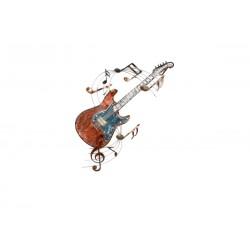 Déco Murale Guitare Colorée & Partitions 89X49,5 Cm