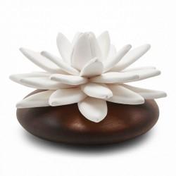 Lotus Des Indes - Diffuseur De Parfum En Bois Et Céramique Blanche