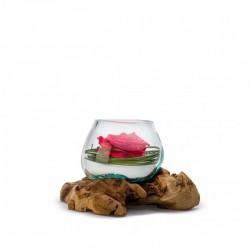 Rose Stabilisée Rouge Dans Sa Verrine Moulée Sur Bois - 25 Cm