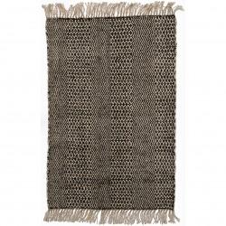 Tapis En Jute & Coton Bohème Noir & Naturel 180 Cm X 120 Cm