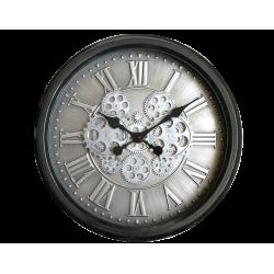 Horloge Murale Métal Mécanisme Apparent Fond Argenté Diamètre 52,5 Cm