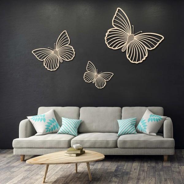 Set De 3 Papillons En Bois De Hêtre - Décoration Murale