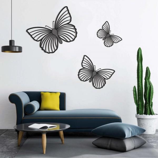 Set De 3 Papillons En Bois De Valchromat Noir - Décoration Murale