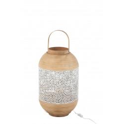 Lampe Forme Lanterne En Métal Blanc Et Rotin