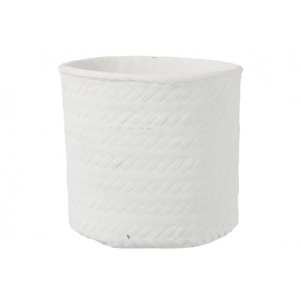 Cache-Pot Imitation Tissage Ciment Blanc Hauteur 33 cm