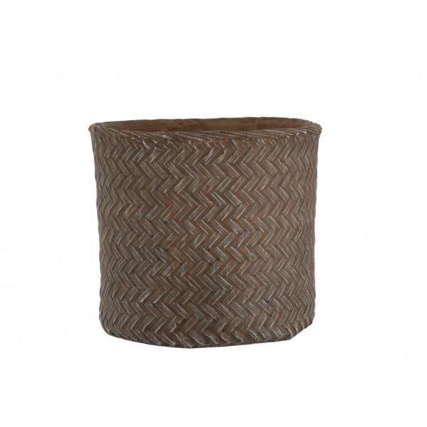 Cache-Pot Imitation Tissage Ciment Marron Hauteur 33 cm