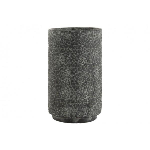 Cache-Pot Haut Motif Fleurs En Relief Céramique Gris Hauteur 49 cm