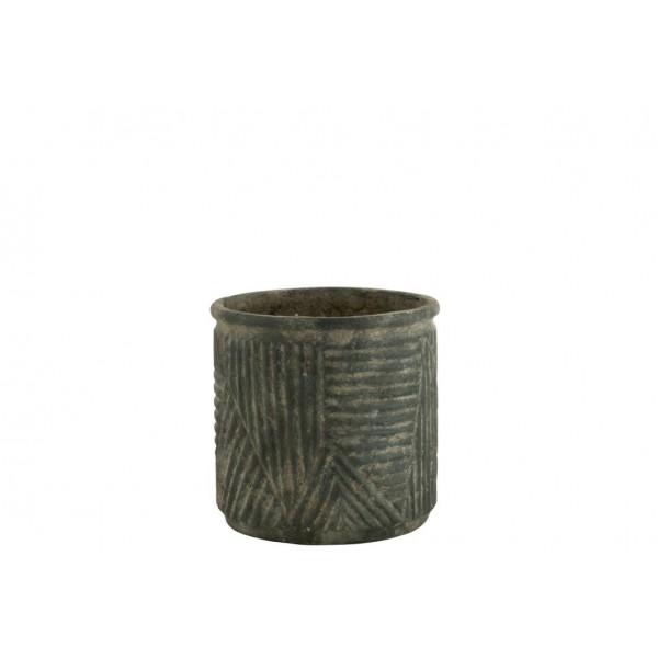 Cache-Pot Motif Lignes Céramique Vert Hauteur 30 cm