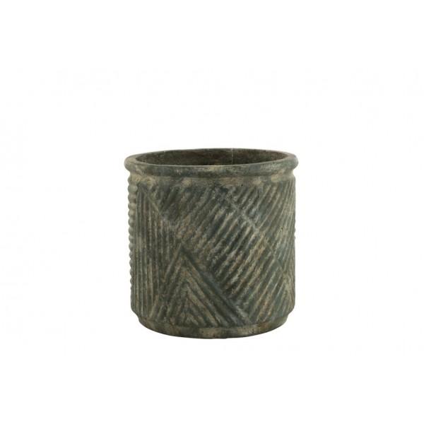 Cache-Pot Motif Lignes En Céramique Vert Foncé Hauteur 35,5 cm