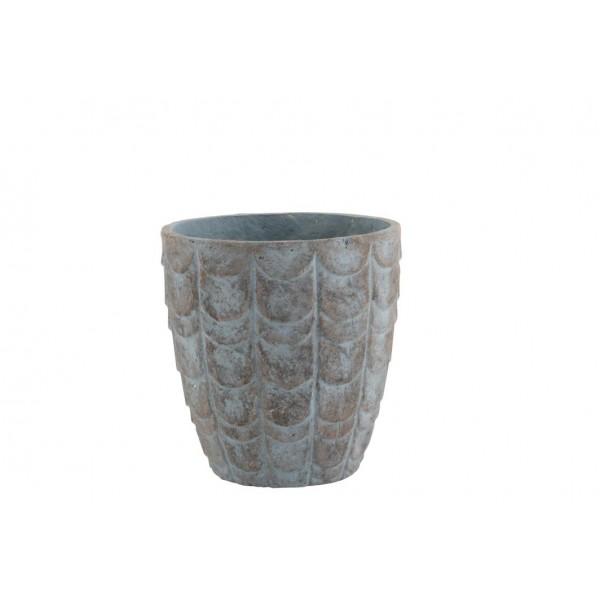 Cache-Pot Motif En Relief Écailles En Céramique Gris Bleuté Hauteur 32,5 cm