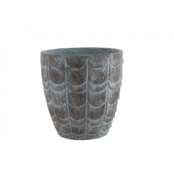 Cache-Pot Motif En Relief Écailles Céramique Gris Bleuté Hauteur 38 cm