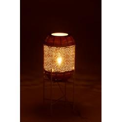 Lampe Sur Pied Métal Blanc Et Rotin