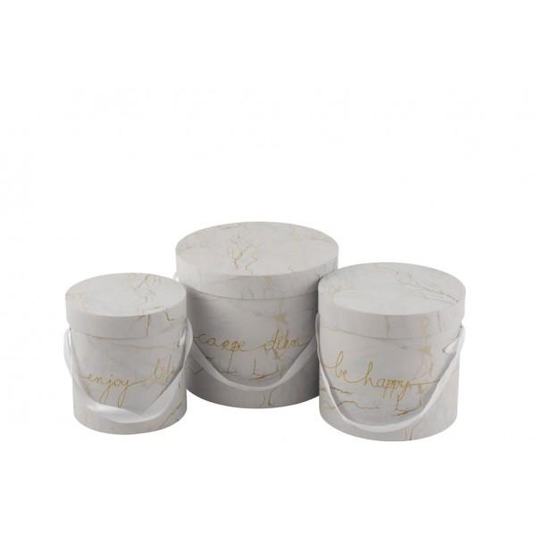 Set De 3 Boites Déco Hautes Enjoy - Marbré Blanc & Or
