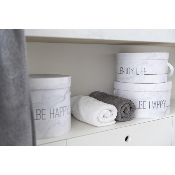Set De 3 Boites Déco Hautes Enjoy - Marbré Blanc & Argent