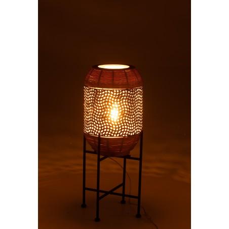 Lampe Sur Pied Métal Noir Et Rotin