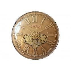 Horloge Murale Mécanisme Apparent Convexe Doré Diamètre 60 Cm
