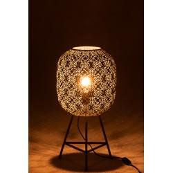 Lampe Ajourée Style Oriental Sur Trépied Métal Gris