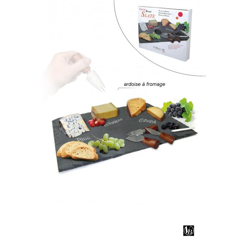 Ardoise A Fromage Avec 3 Couteaux & Craie 30,5 Cm