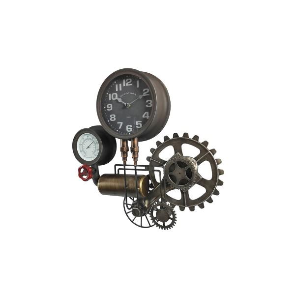 Horloge Murale & Thermomètre Indus 54 Cm X 50 Cm Marron