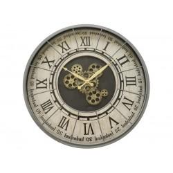 Horloge Murale Mécanisme Apparent Métal Gris Diamètre 57 Cm