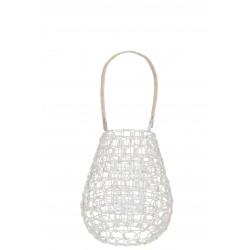 Lanterne Grillage Rotin Blanc & Naturel