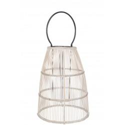 Lanterne Barres Verticales & Anse Bambou Naturel