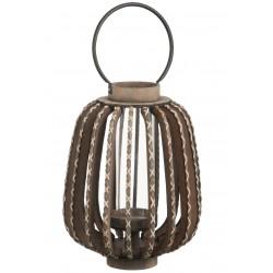 Lanterne Ovale En Bois Anse Lattes Tressées