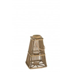 Lanterne Bambou Lattes Verticales Rondes