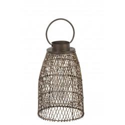 Lanterne Quadrillage Losanges Bambou Et Anse Metal